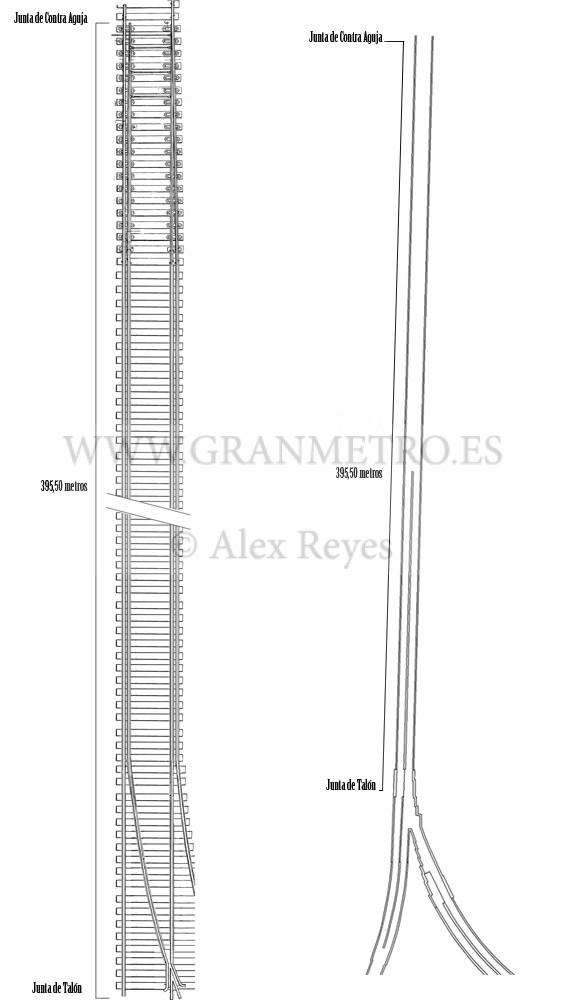 Esquema tipo de una aguja diferida y su relación en dimensiones con la Bifurcación Aragón. Dibujo: Alex Reyes.