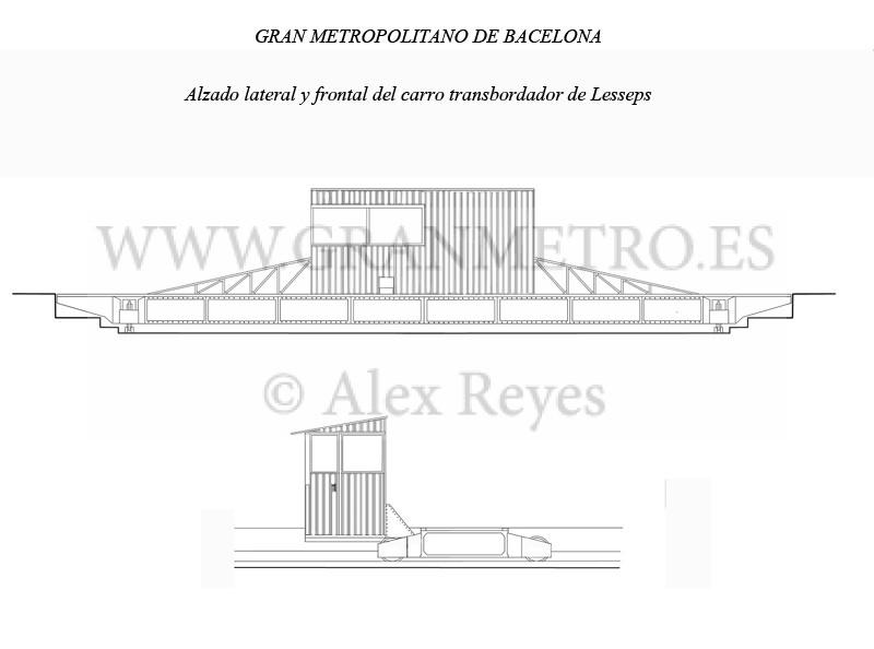 Alzado frontal y lateral del carro transbordador de Lesseps. Dibujo: Alex Reyes.