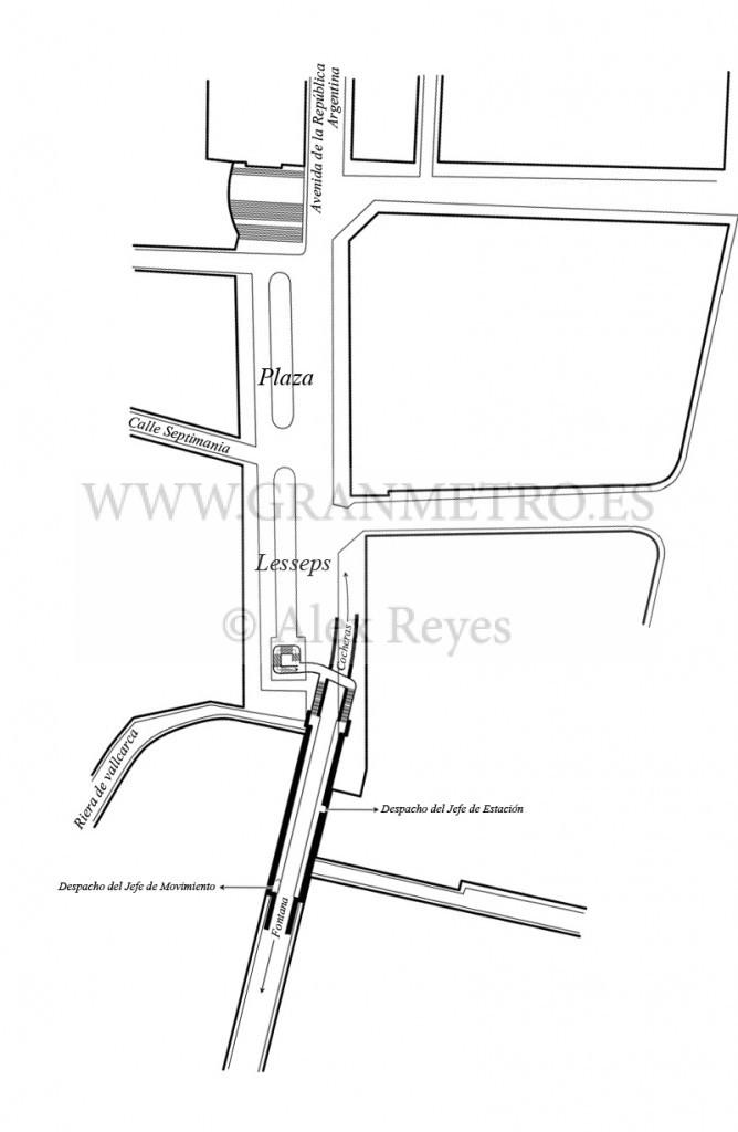 Plano de emplazamiento y configuración de andenes, corredores, y accesos a la estación Lesseps. Dibujo Alex Reyes.