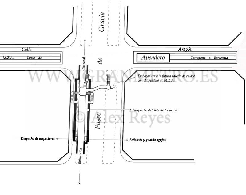 Plano de emplazamiento y configuración de andenes, corredores, y accesos a la estación Aragón. Dibujo Alex Reyes.