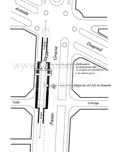 Plano de emplazamiento y configuración de andenes, corredores, y accesos a la estación Diagonal. Dibujo Alex Reyes.