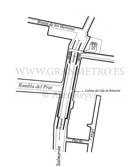 Plano de emplazamiento y configuración de andenes, corredores, y accesos a la estación Fontana. Dibujo Alex Reyes.