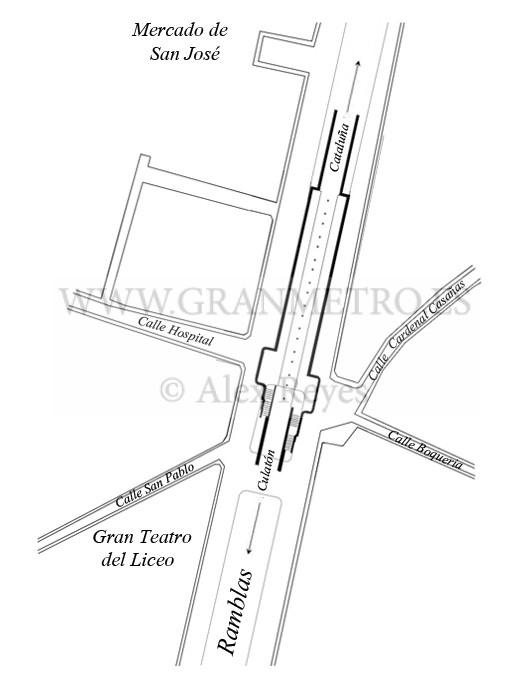 Plano de emplazamiento y configuración de andenes y accesos a la estación Liceo. Dibujo Alex Reyes.