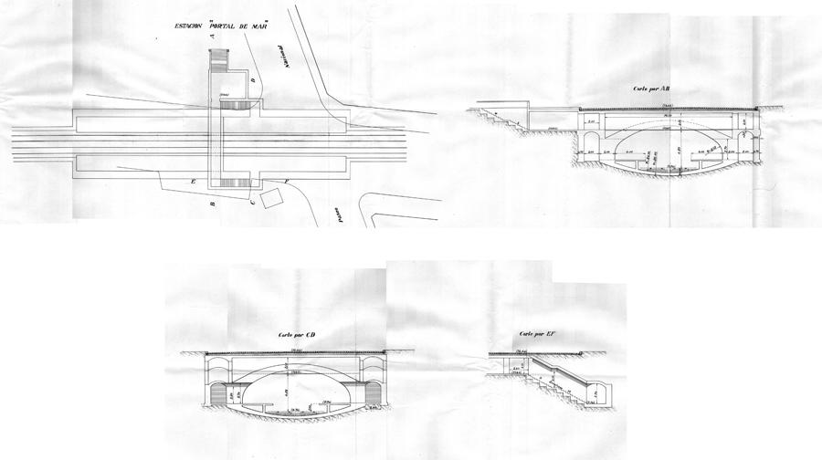 """Estación """"Portal de Mar"""" en el replanteo de agosto de 1921. Corresponde a la estación Tipo con andenes de 4 metros, con vomitorios de acceso contra la bóveda de la estación en ambos andenes. Consta de un único acceso desde la calle que conduce a un amplio vestíbulo de taquillas desde el que se llega a un corredor distribuidor, perpendicular al eje de la estación, que da acceso a los andenes. Debido a la escasa profundidad de la estación, el corredor distribuidor corta la continuidad de la bóveda creando un pequeño tramo de techo plano visible desde los andenes.   Fuente: AGA."""