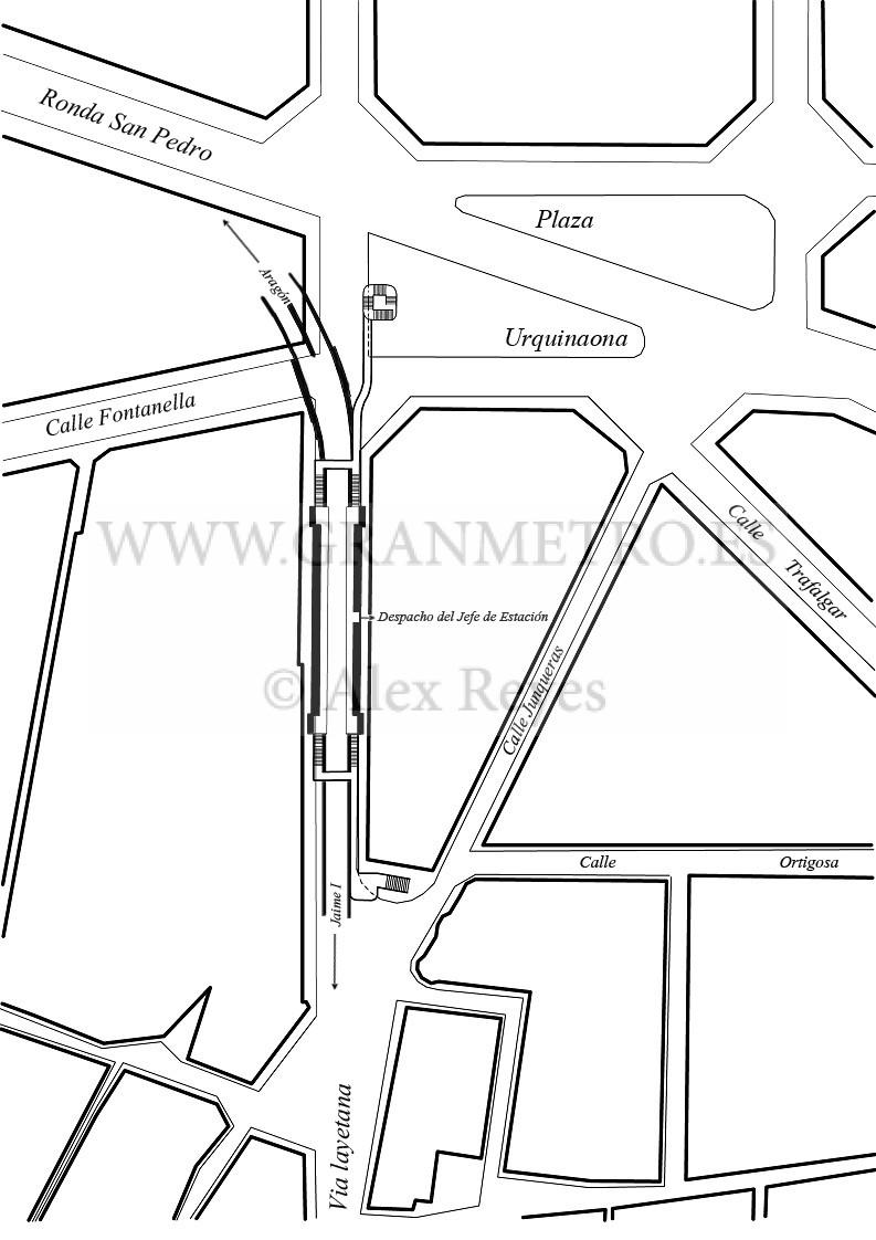 Plano de emplazamiento y configuración de andenes, corredores, y acceso a la estación Urquinaona. Dibujo Alex Reyes.