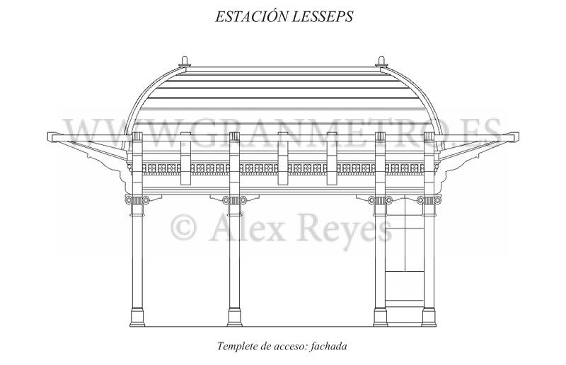 Alzado de la fachada principal del templete de acceso a la estación Lesseps. El espacio central está reservado a los ascensores, el de la izquierda a la escalera, y el de la derecha al despacho de billetes. Dibujo: Alex Reyes.