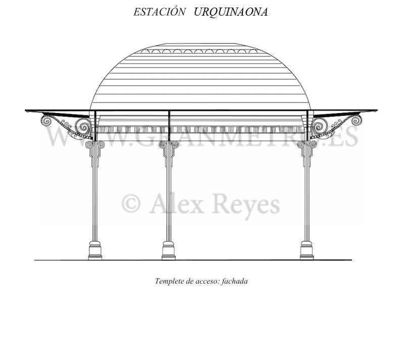 Alzado de la fachada principal del templete de acceso a la estación Urquinaona. El espacio de la izquierda a la escalera, y el de la derecha al despacho de billetes y ascensores. Dibujo: Alex Reyes.