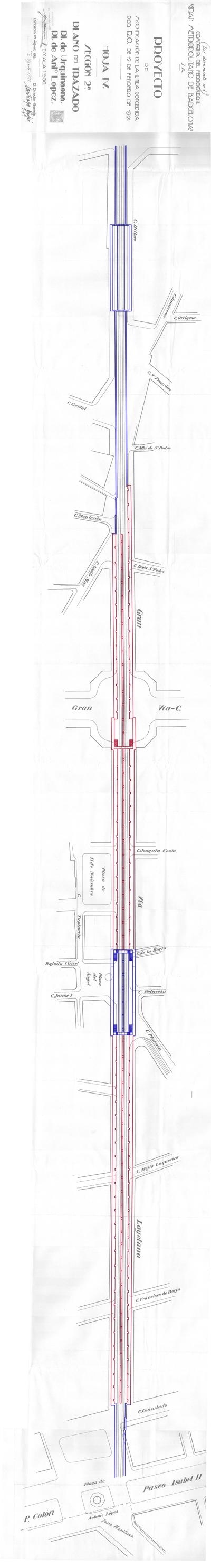 Trazado de la Línea II entre la plaza Urquinaona y la plaza de Antonio Lopez y aprovechamiento de los túneles de La Reforma. En el plano aparece en color rojo la obra realizada por el ayuntamiento, y en color azul la obra a realizar por la compañía, apreciándose la inutilidad de la estación inacabada en el cruce de la Vía Layetana y la Gran Vïa C de La Reforma. Fuente: AGA.