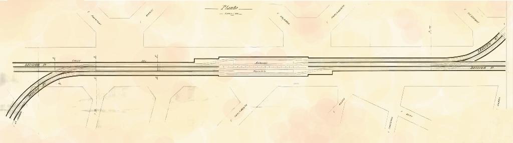 Desarrollo de la variante de bifurcación Tipo, correspondiente a la estación Paralelo. Fuente: AGA.