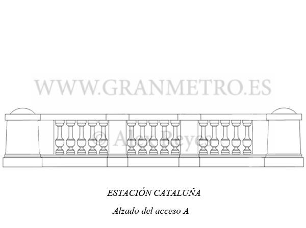 Alzado del acceso A a la estación Cataluña. Dibujo: Alex Reyes.