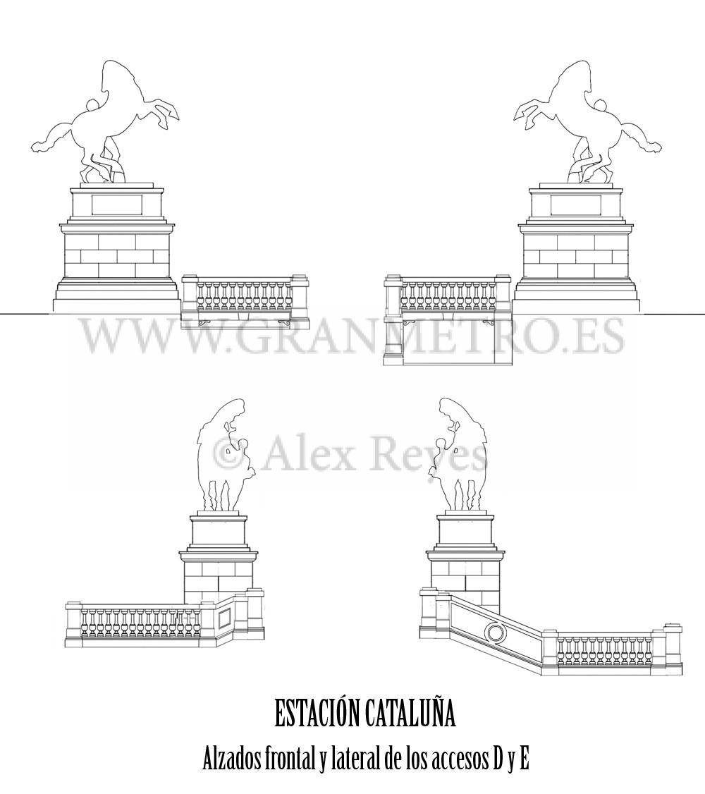 Alzados frontal y lateral de los nuevos accesos D y E a la estación Cataluña. Dibujo: Alex Reyes.