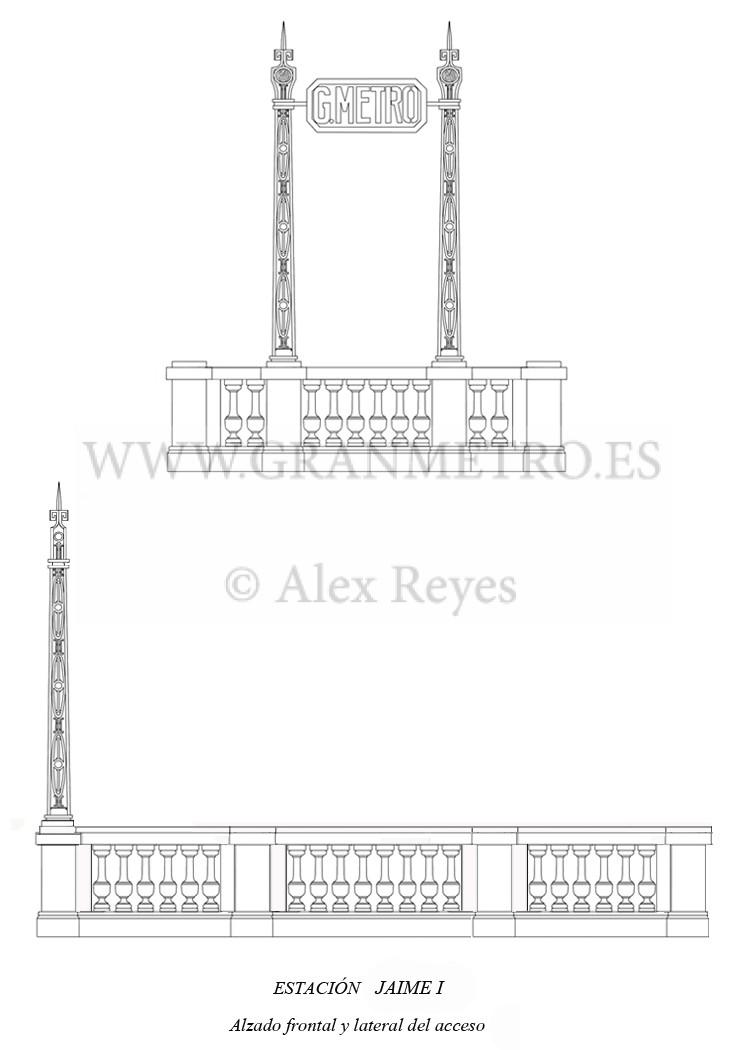 Alzado frontal y lateral del acceso a la estación Jaime I. Dibujo: Alex Reyes.
