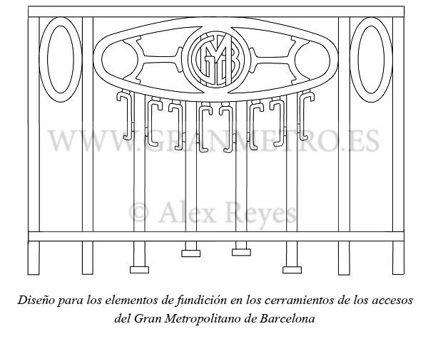 Diseño aprobado por el Ayuntamiento para los cerramientos de los accesos al Gran Metro. Dibujo: Alex Reyes.