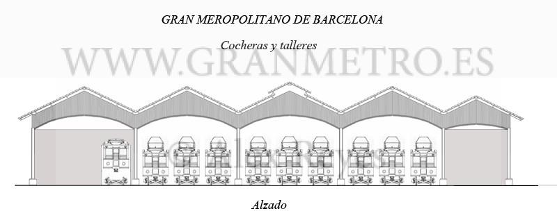 Alzado de la fachada del edificio de cocheras y taller. Dibujo: Alex Reyes.