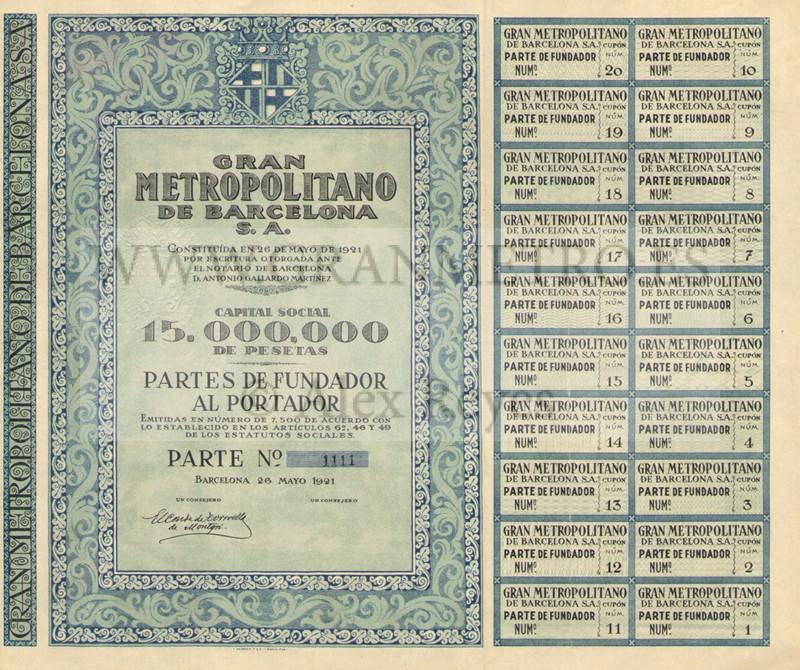 Parte de Fundador y sus correspondientes cupones, emitidos el 26 de mayo de 1921. Fuente: archivo Alex Reyes.