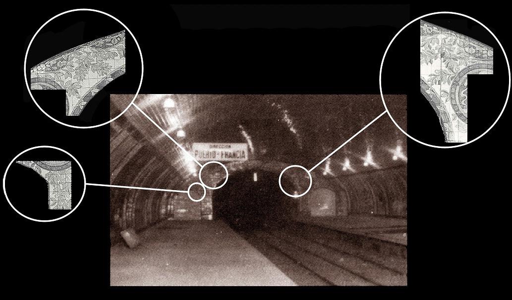 Piñón lado Aragón en 1924, en el que se observan los dos vomitorios que deberán dar acceso al corredor de enlace con el Metropolitano Transversal. Fotografías: Archivo TMB..