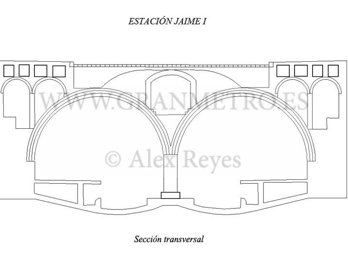 Sección de la estación Jaime I. Dibujo: Alex Reyes.