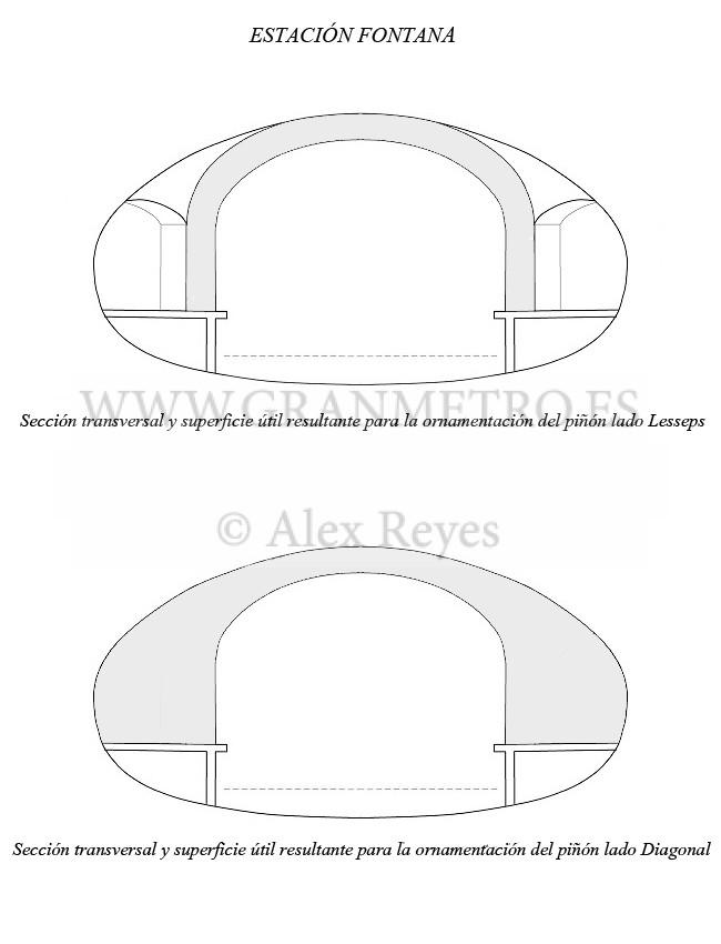 Secciones transversales de la estación Fontana, especificando la superficie útil resultante para la ornamentación de ambos piñones. Dibujo: Alex Reyes.