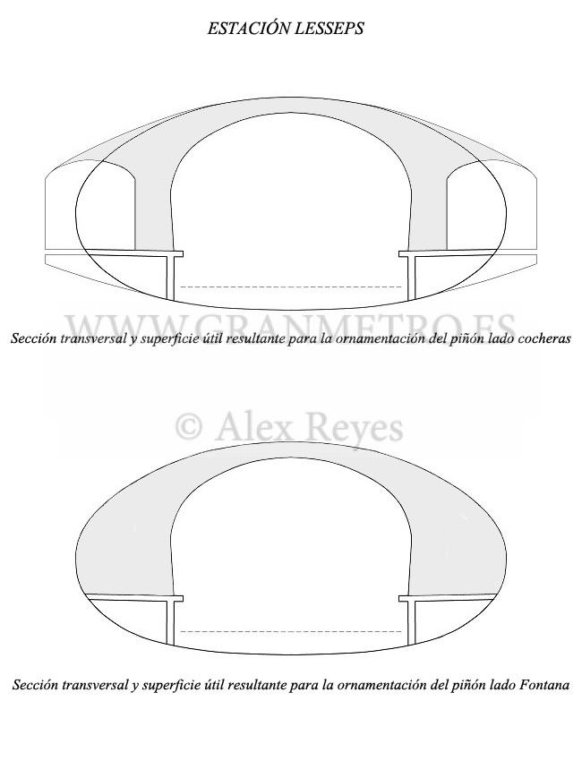Secciones transversales de la estación Lesseps, especificando la superficie útil resultante para la ornamentación de ambos piñones. Dibujo: Alex Reyes.