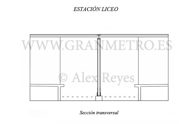 Sección transversal de la estación Liceo. Dibujo: Alex Reyes.
