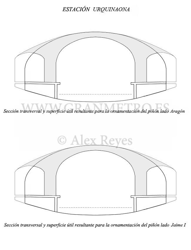 Secciones transversales de la estación Urquinaona, especificando la superficie útil resultante para la ornamentación de ambos piñones. Dibujo: Alex Reyes.